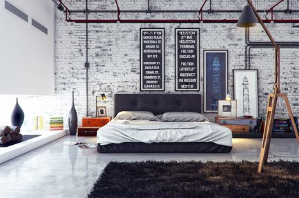 industrial-bedrooms-interior-design-with-white-and-grey-color-also-brown-fur-rug-industrial-bedroom-interior-design